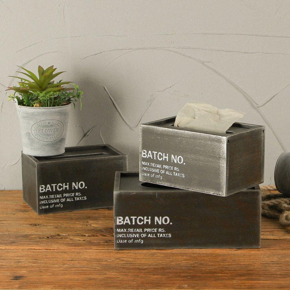 Stile industriale scatola del tessuto portatovaglioli in legno metallo vernice box hotel bar Cafe 18x12x10cm Black chenyu