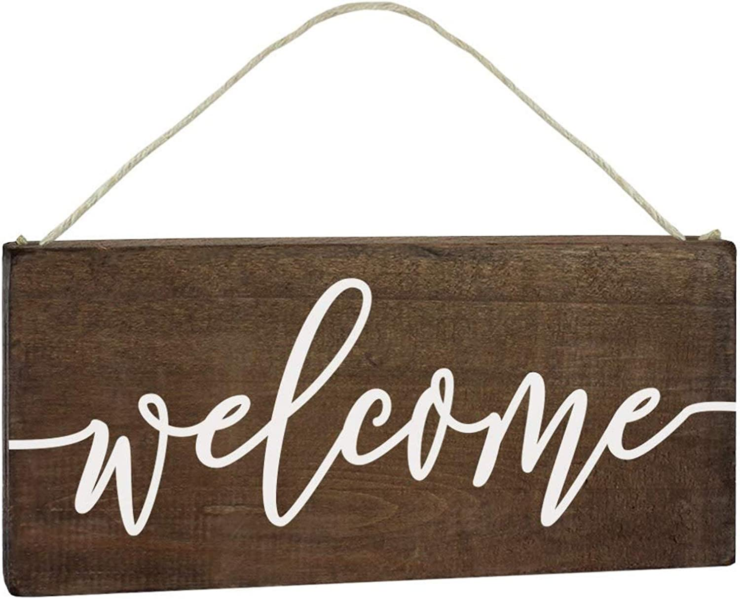 ALBEN Hanging Wooden Welcome Sign - Reversible Message Home or Welcome - 12