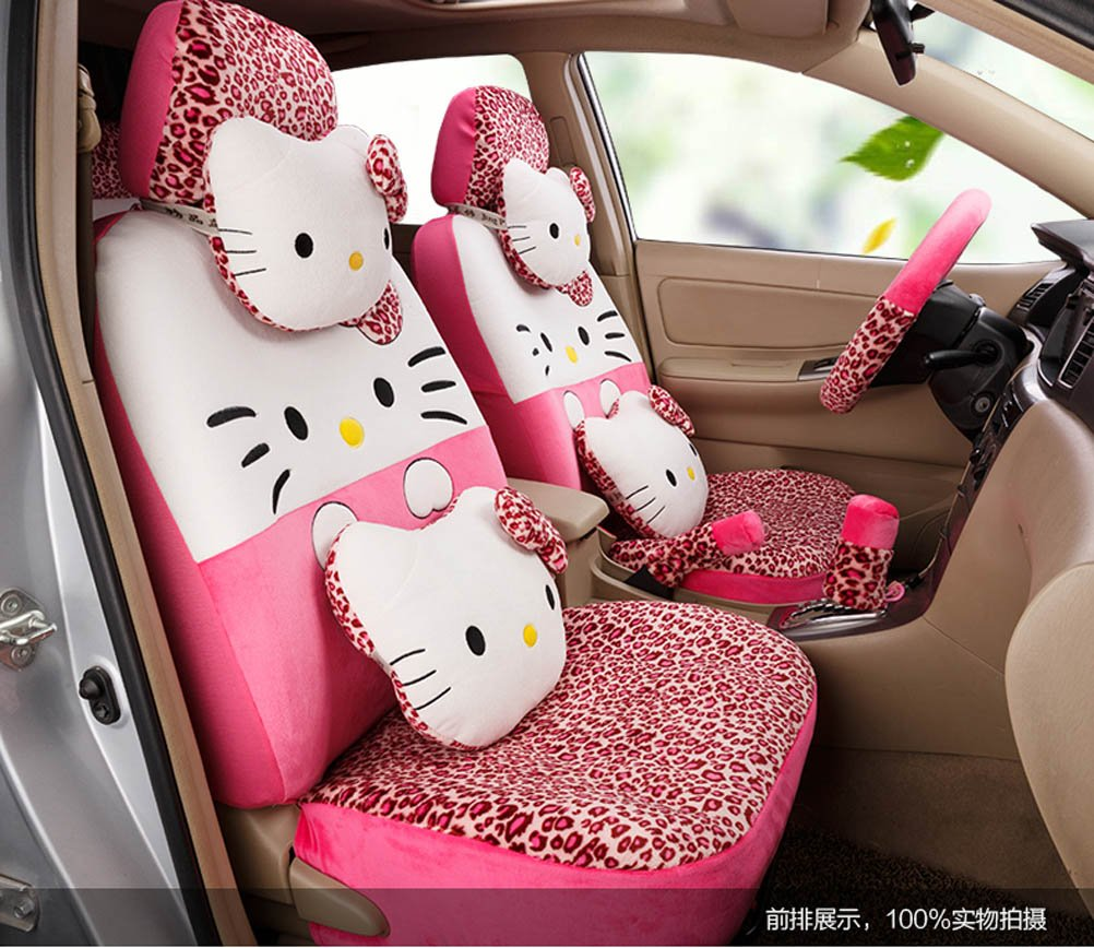 1 set classical cartoon peach leopard fashion universal car front and back seat covers car waist pillows neck pillows hand brake cover by weiwei26 (Image #1)