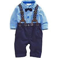 Baby Boys' Plaid Romper with Hat Short Sleeve Shortall