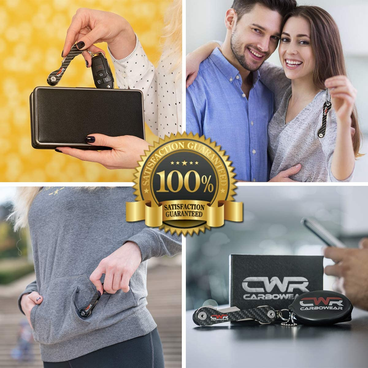 Carabiner Locks Black Mailbox SIM /& Bottle Opener Carbon Fiber Key Organizer Keychain -Easy Assembly -with Fob Car Loop Compact Smart Key Holder Organizer -UP to 22 Keys for House Coin Holder