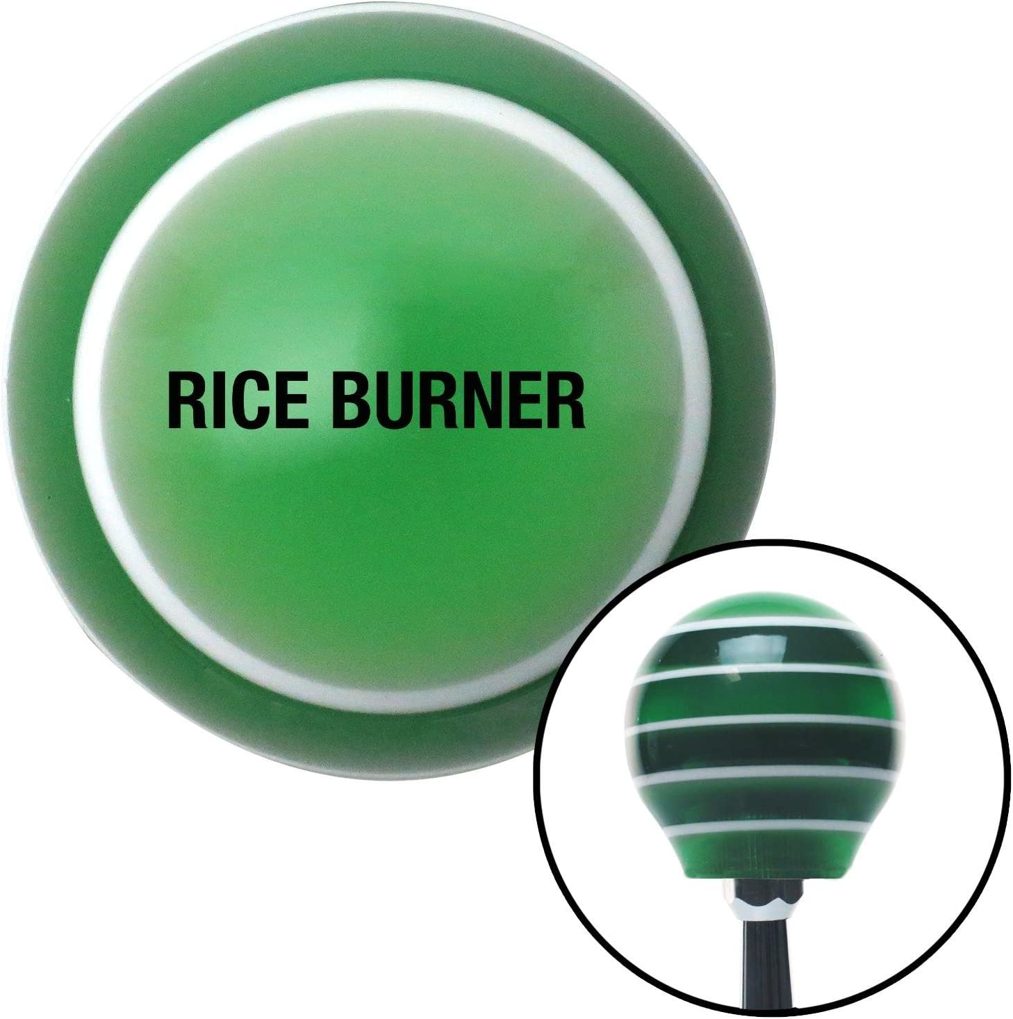 American Shifter 129159 Green Stripe Shift Knob with M16 x 1.5 Insert Black Rice Burner