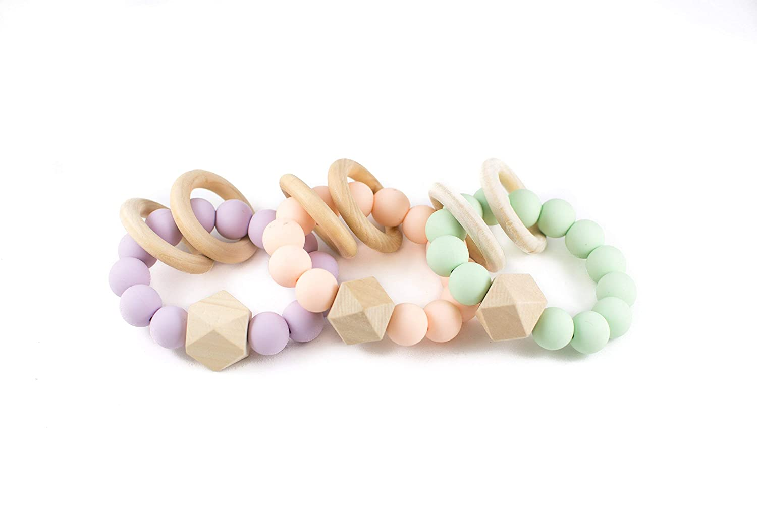 Natural Silicone Wooden Baby Teether Rattle Toy Baby Girl Boy Shower Gift