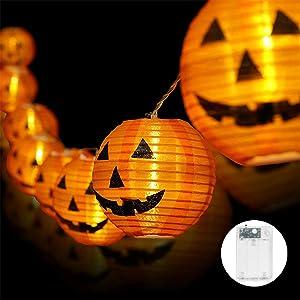 Whishine Halloween Pumpkin String Lights, 20 LED Pumpkin Lights Battery Powered Jack-O-Lantern Halloween Light Decorations for Outdoor Indoor Holiday Decor