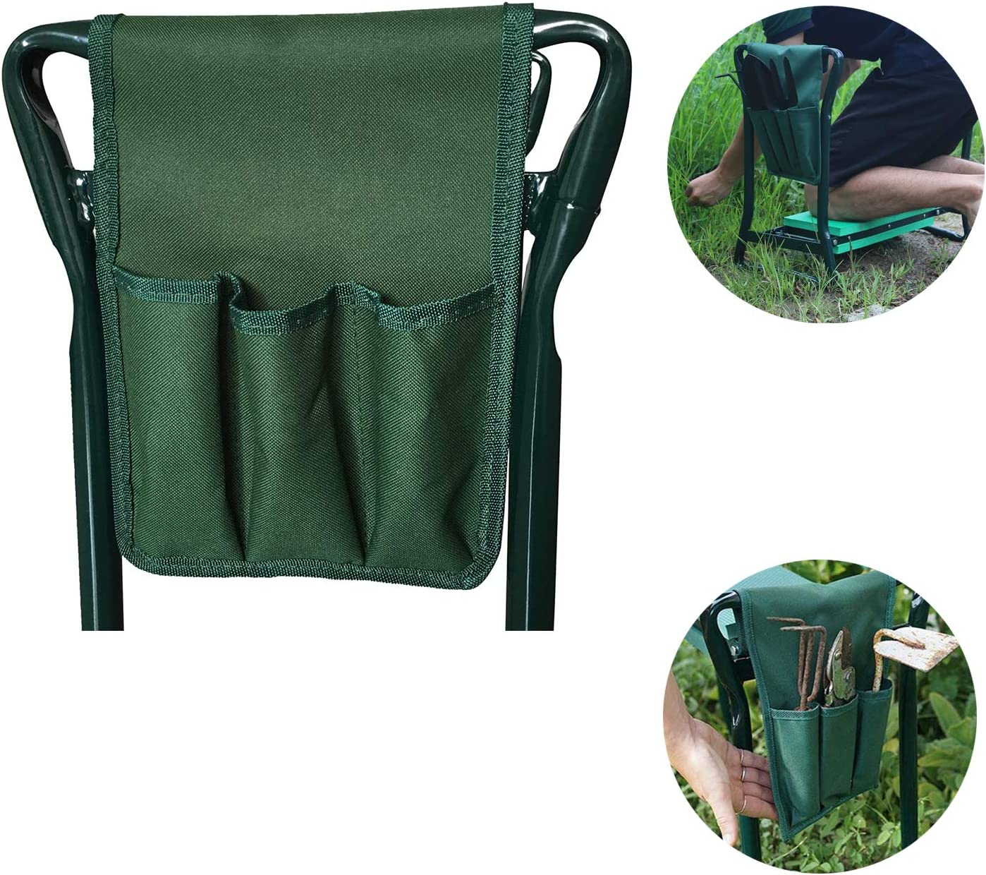 Garden Kneeler and Seat Bags with Tool Pouches Portable for Outdoor Gardening Green Garden Kneeler Tool Bag Oxford Garden Kneeler Side Pockets for Kneeling Chair Garden Tools 11.6 x 7.7 inches