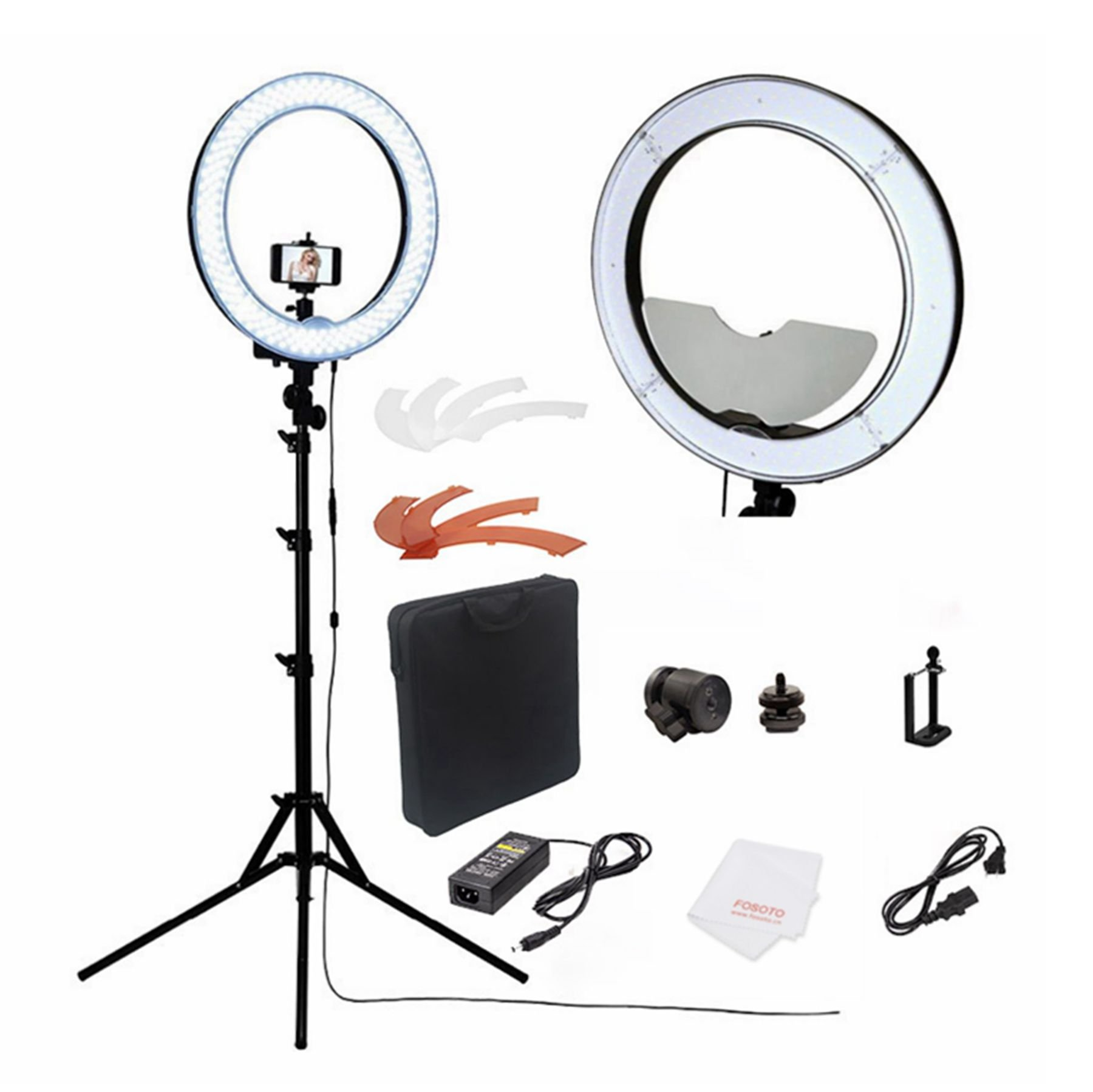 fosoto Camera Photo/Studio/Phone/Video RL-18'' 55W 240 LED Ring Light 5500K Photography Dimmable Ring Lamp With Mirror/Tripod