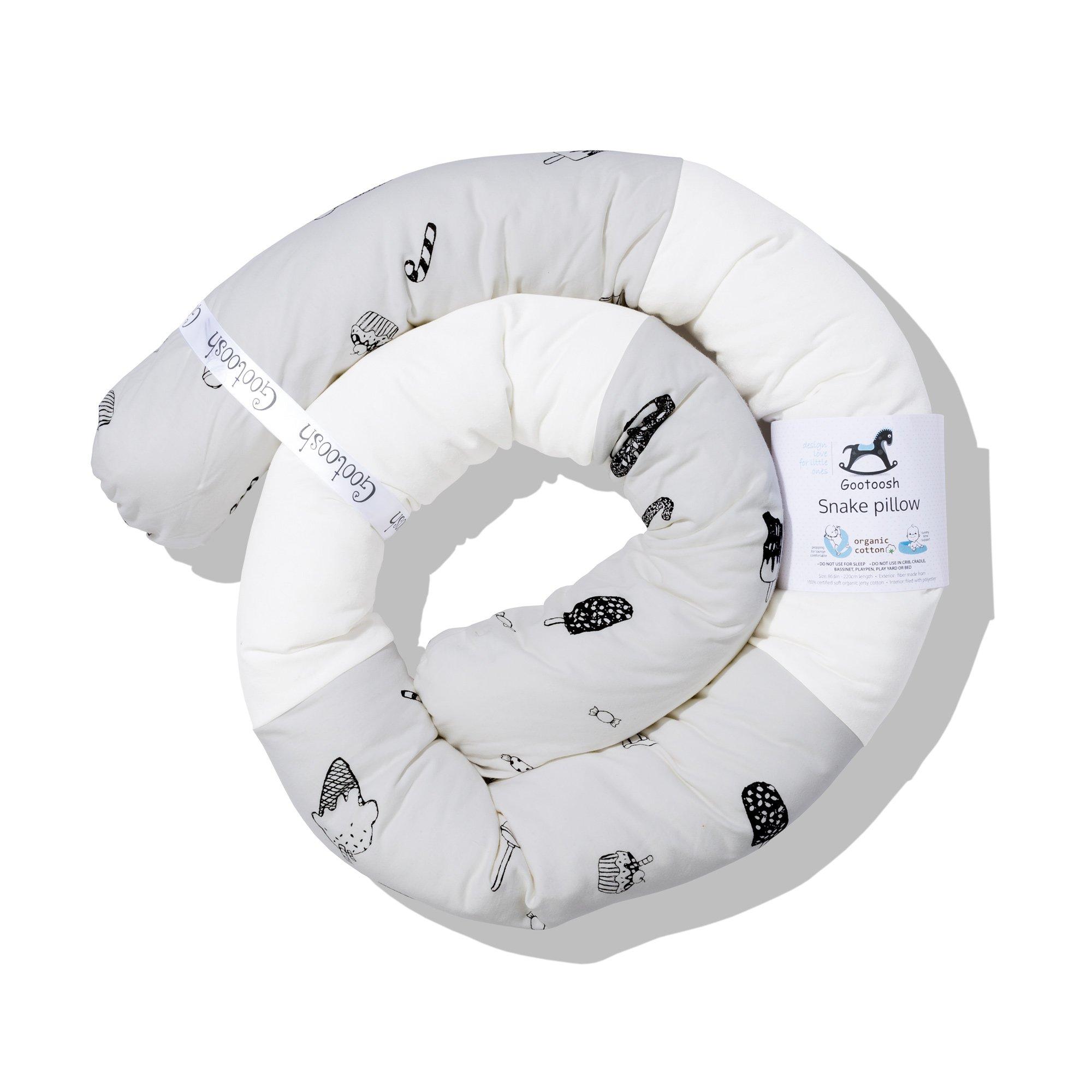 Snake Pillow with Zipper, Modern Bumper, Crib Bumper, Organic Cotton - Gray Candy/Origami 86 in