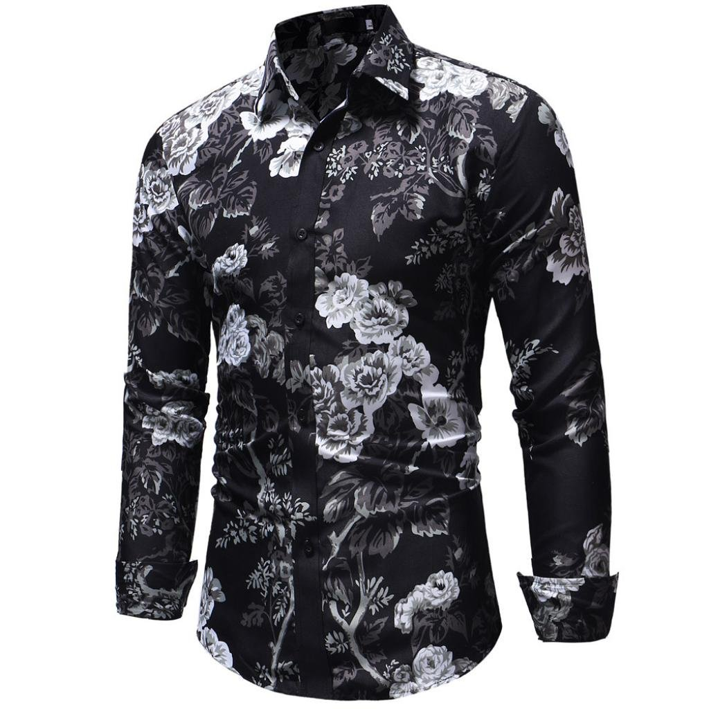♚ Blusa de Hombre,Blusa Superior de la Camiseta de Manga Larga con Botones Florales Estampados de Oto/ño de Invierno de los Hombres Absolute