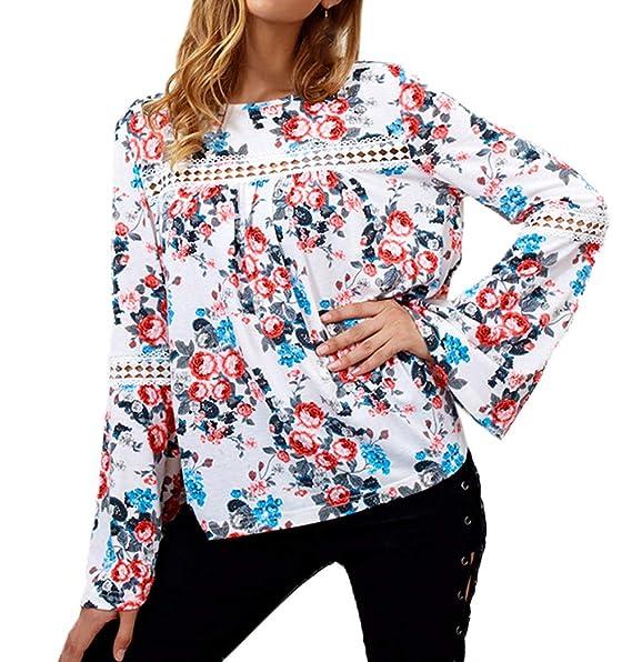 Primavera Otoño Mujeres Top Moda Encaje Costura Impresión Remata tee Shirt Camisa Casual Cuello Redondo Camisetas
