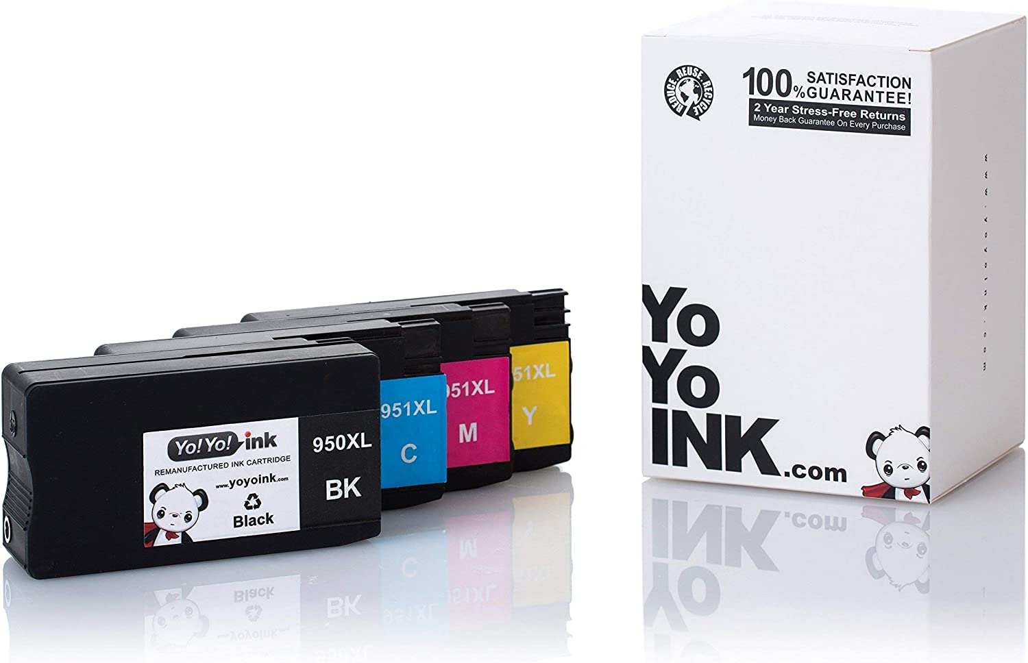 YoYoInk Remanufactured Ink Cartridge Replacement for HP 950XL 951XL 950 951 XL (1 Black, 1 Cyan, 1 Magenta, 1 Yellow; 4 Pack)