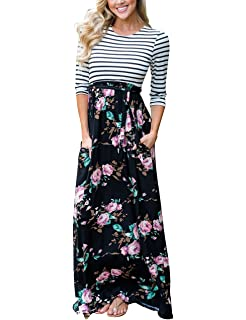 f5ee17db38 MEROKEETY Women's Striped Floral Print 3/4 Sleeve Tie Waist Maxi Dress with  Pockets