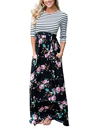 2f4bd9f302f MEROKEETY Women s Striped Floral Print 3 4 Sleeve Tie Waist Maxi Dress With  Pockets Black
