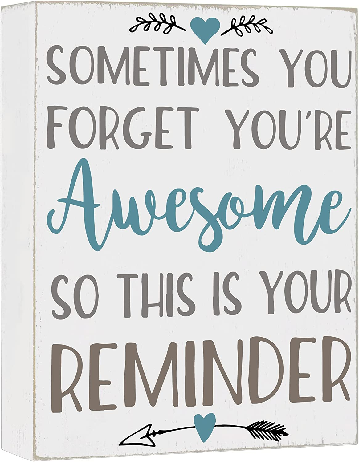 Cocomong Modern Farmhouse Decorations for Living Room, Sometimes You Forget You are Awesome, Inspirational Gifts, Housewarming Gifts for Women, Inspirational Wall Art Shelf Decor, House Decor Sign 6x8
