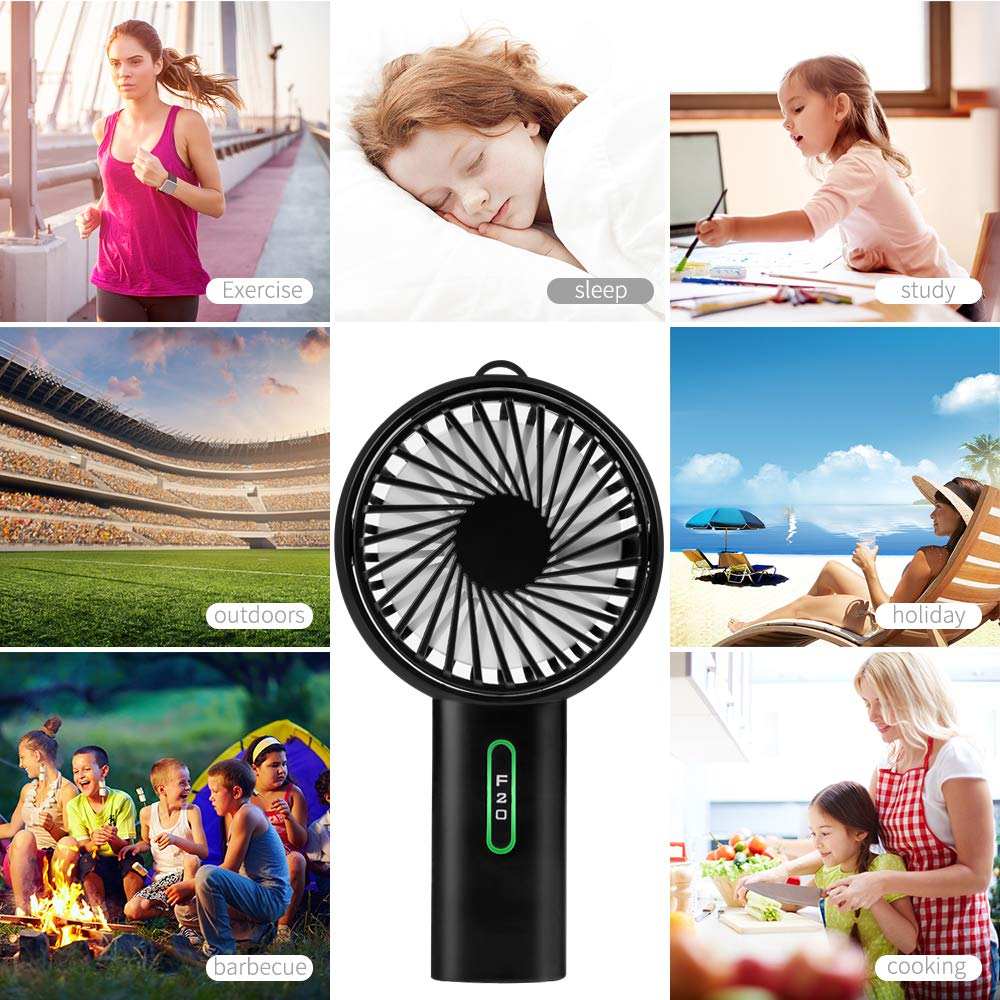 Small Personal USB Fans Desktop Table Desk Cooling Fan Electric Handheld Mini Portable Fan with Rechargeable 2600 mAh Battery Foldable Handle for Home Office Outdoor Travel by LOBKIN (F20, Black)