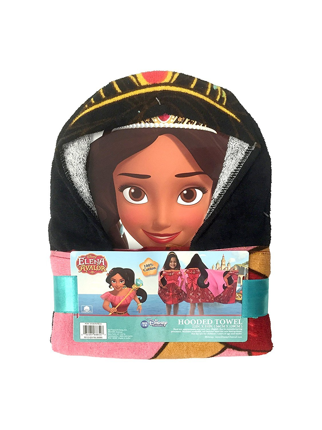 Disney Elena of Avalor - Hooded Bath Towel 100% Cotton, 22 in x 51 in (56 cm x 130 cm) by Jay Franco and Sons, Inc. (Image #4)