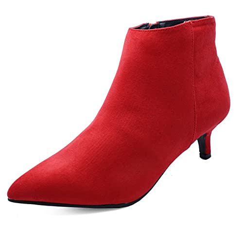 wholesale dealer store no sale tax Ladies Red Zip-Up Wide-Fit Kitten Low Heel Faux Suede Ankle Boots Work  Shoes Sizes 3-9