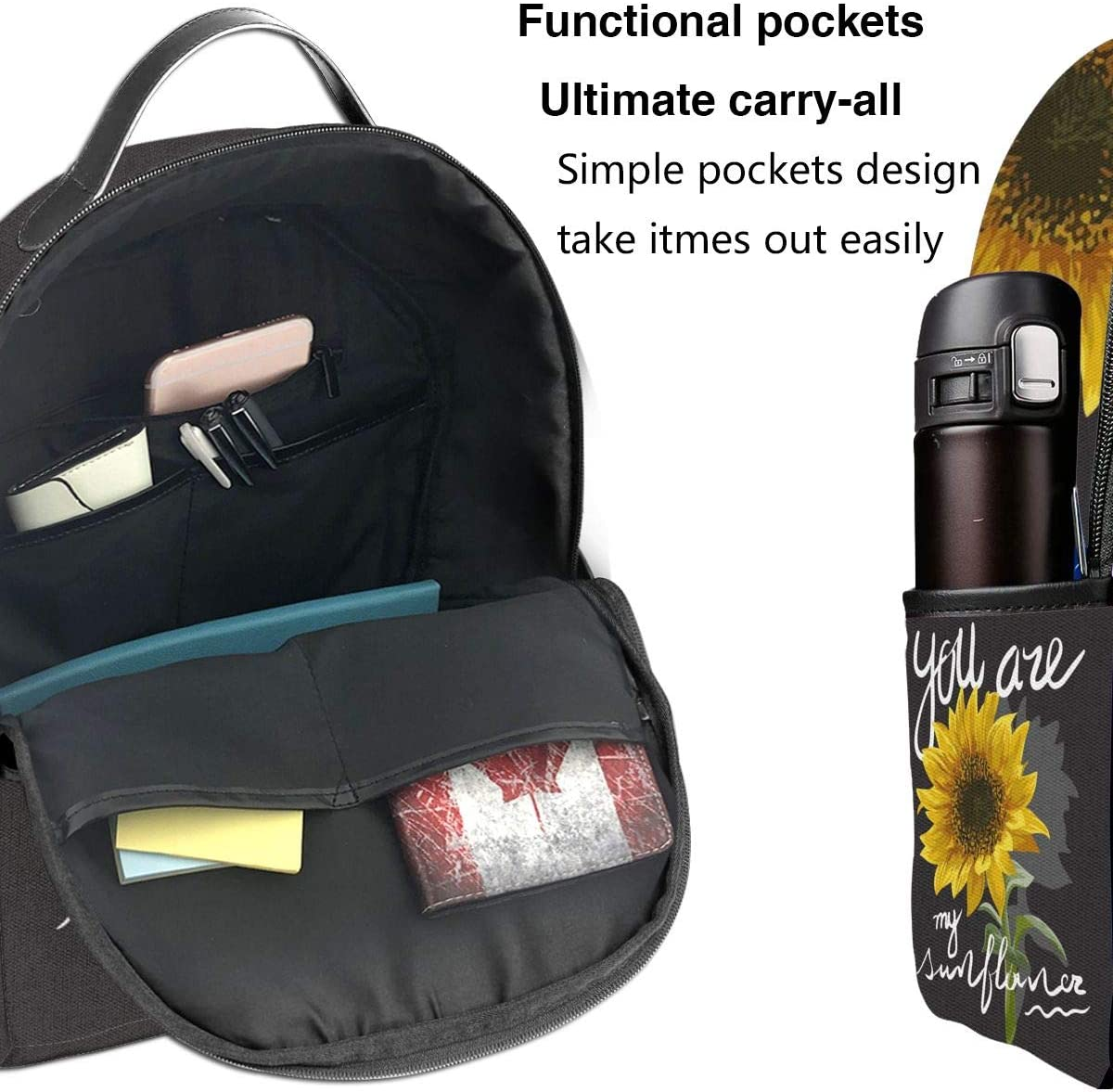 Backpack You are My Sunflower School Bag Teens Lightweight Book Bag Thick Durable Travel Backpack Bag Large Capacity Shoulder Bag with Side Pockets for Girls Boys