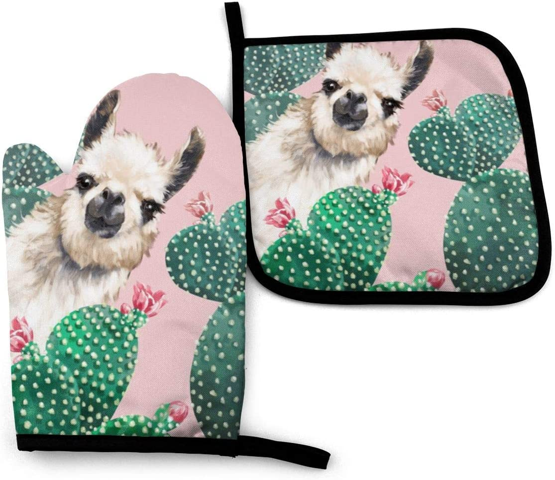Oven Mitts and Pot Holders Set,Llama and Cactus Washable Heat Resistant Kitchen Non-Slip Grip Oven Gloves for Microwave BBQ Cooking Baking Grilling