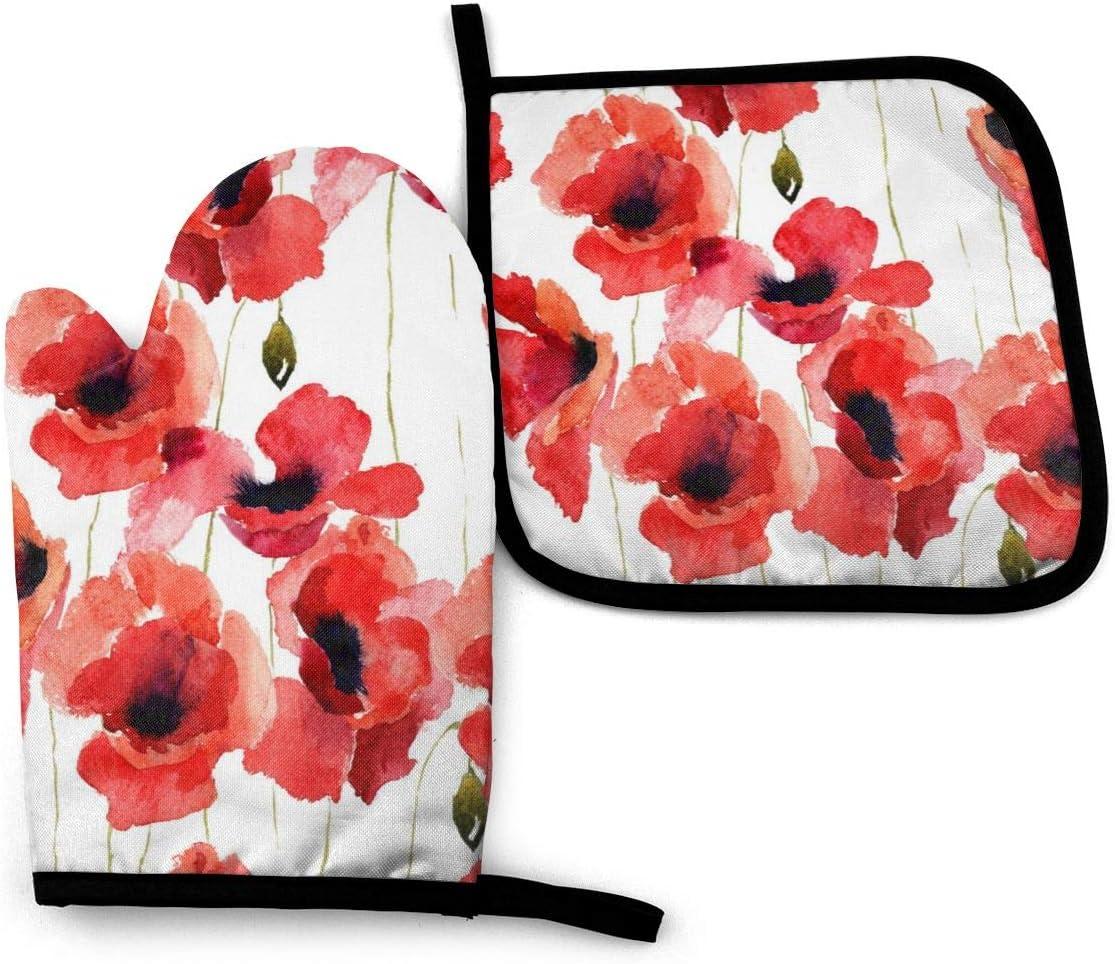 BJHAP Oven Mitt and Pot Holder Set Red Poppy Flowers Heat Resistant Kitchen Gloves Potholder