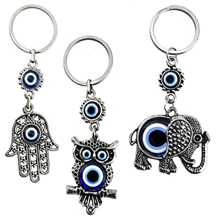 751fdbf20 Amazon.com: Bead Global Turkish Blue Evil Eye Keychain Amulet - Hamsa Hand  of Fatima - Elephant and Owl - Gift for Men or Women (Set of 3): Office  Products