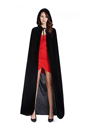 Diffly 59 quot  Velvet Hooded Cape Unisex Halloween Cloak for Devil Witch  Wizard Halloween Christmas Cosplay 51994e0e0