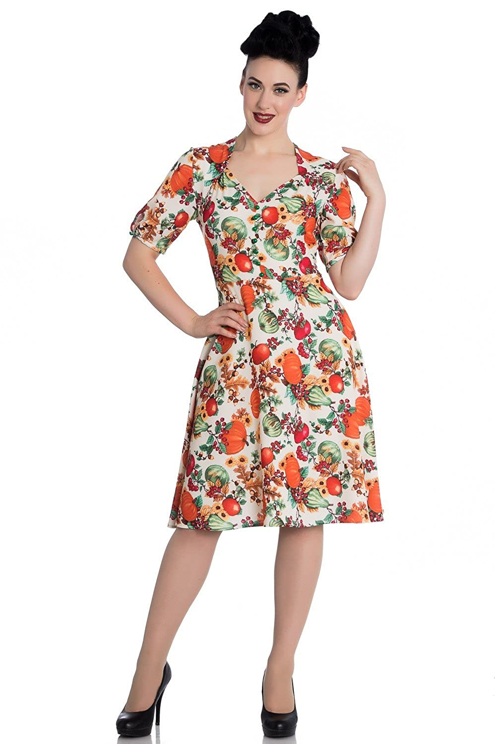 Vintage Retro Halloween Themed Clothing Hell Bunny 50s Retro Harvest Autumn Pumpkin Berries Cocktail Party Flare Dress $29.99 AT vintagedancer.com