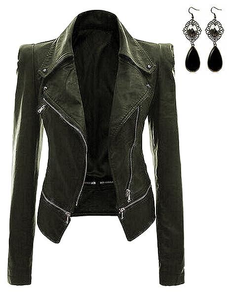 Amazon.com: Oioninos - Chaqueta de piel para mujer, diseño ...