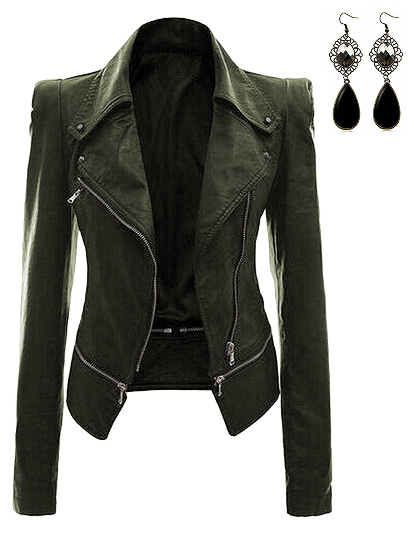 Oioninos Women Leather Jacket Slim Punk Bomber Casual Zipper Short Coat,XX-Large,Green