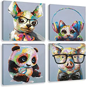 Biufo - Framed Animals Canvas Wall Art Prints - Smart Dog Pig Funny Panda Cat Painting Picture - Kids Room Nursery Home Decor - 12x12 Inches Set of 4