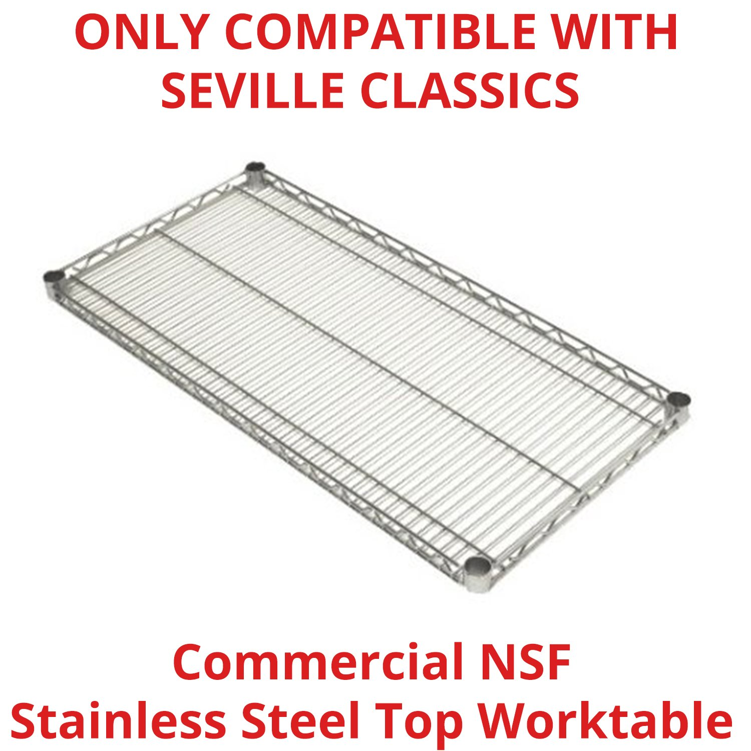 Seville Classics SHE18308SH Commercial NSF Stainless Steel Top Worktable Shelf, 18'' D x 48'' W x 1'' H
