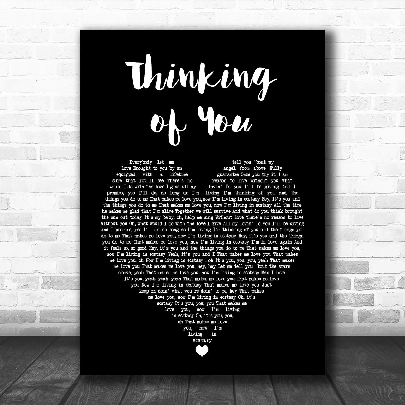 Thinking of You Black Heart Song Lyric Art Music Quote Gift Poster Print