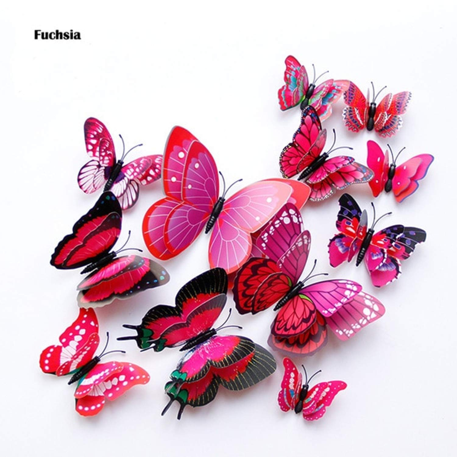 Amazon.com: Batop 12Pcs Double Layer 3D Butterfly Wall Sticker - On The Wall - Home Decor Butterflies for Decoration - Magnet Fridge Stickers (Fuchsia): ...