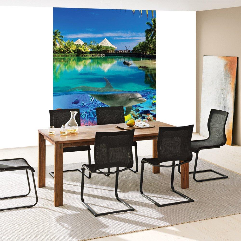 Papel Pintado Fotográfico Premium Plus fotográfico pintado - cuadro de pared - animales - Papel pintado Delfín peces Corales Animales Mar palmera casetas de ...