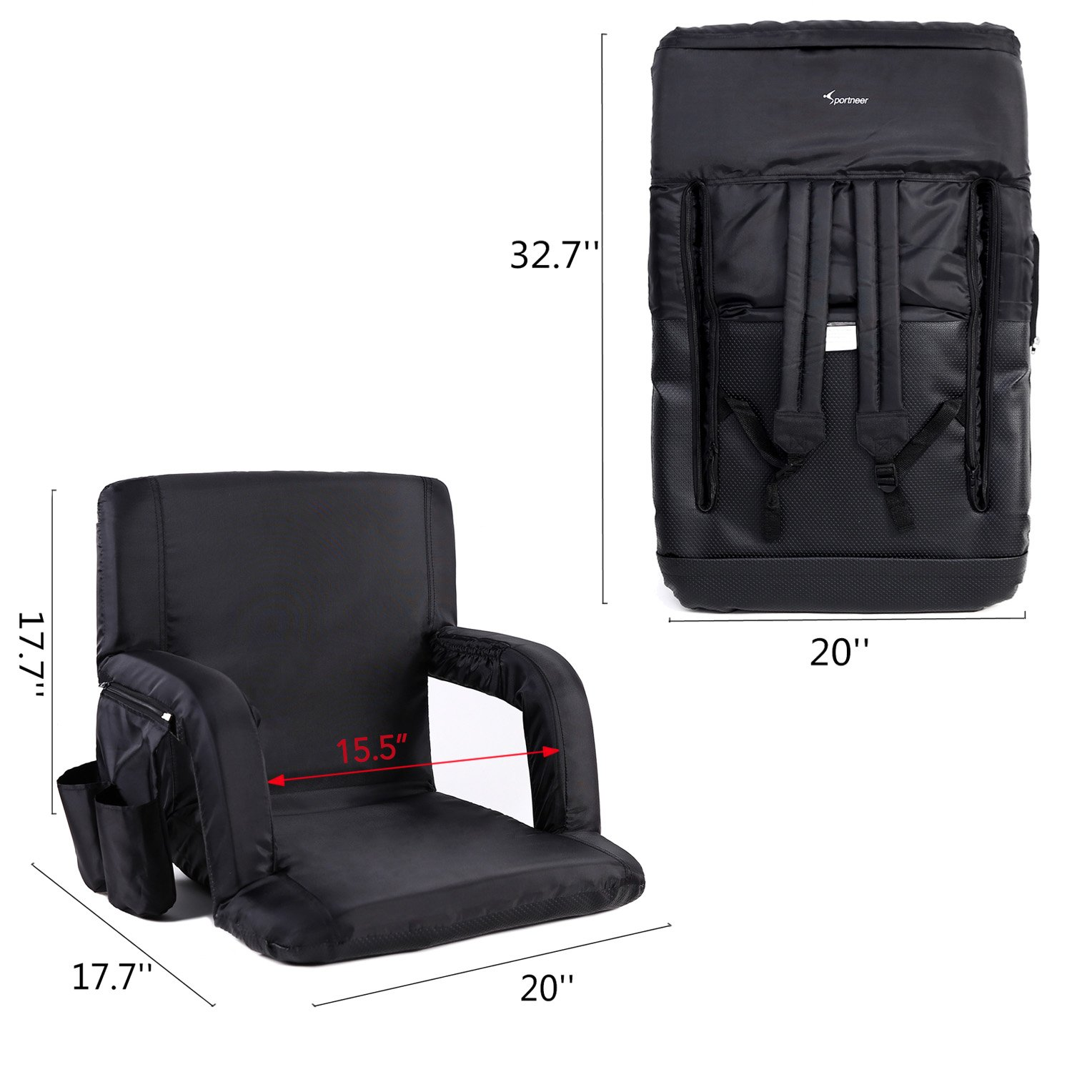 Sportneer Reclining Seat for Bleachers with Padded Cushion Shoulder Straps Portable Stadium Seat Chair