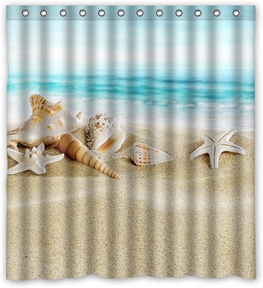 """Náutica estrellas de mar en la playa de arena Ducha Cortinas De Baño Tela Impermeable 71/"""""""