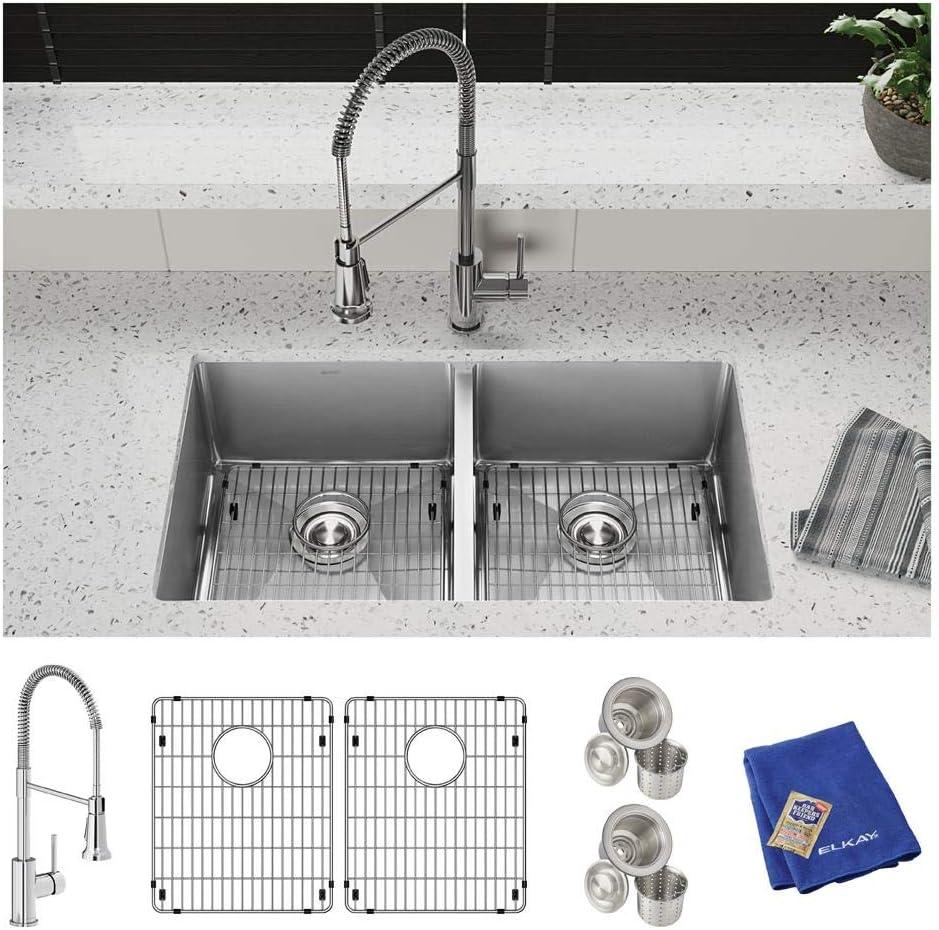 Elkay Crosstown ECTRU31179TFC 18 Gauge Stainless Steel 31-1 2 x 18-1 2 x 9 , Equal Double Bowl Undermount Sink Kit with Faucet
