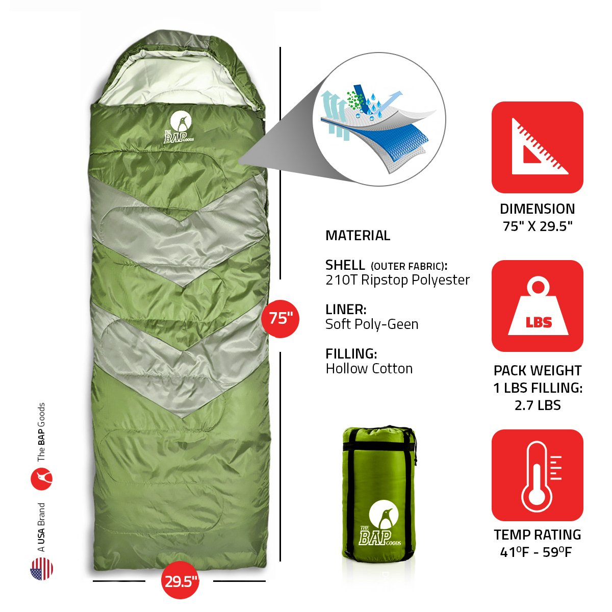 Sleeping Bag Outdoor Camping Extra Wide – Bonus Pillow – for Men Women Adults 210T Ripstop Compact Envelope Sleeping Bag – Ideal for All Year Long Available in Two Colors and Different Thickness