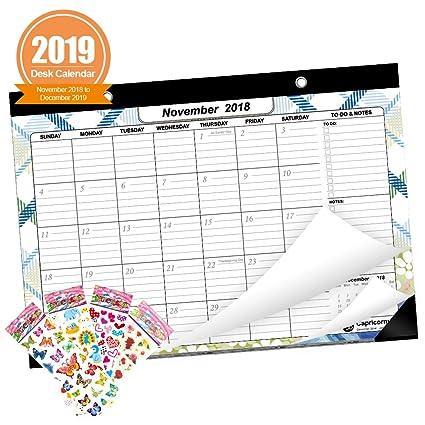 Amazon Com Heiyi 2018 2019 Desk Calendar Monthly Desk Pad Calendar
