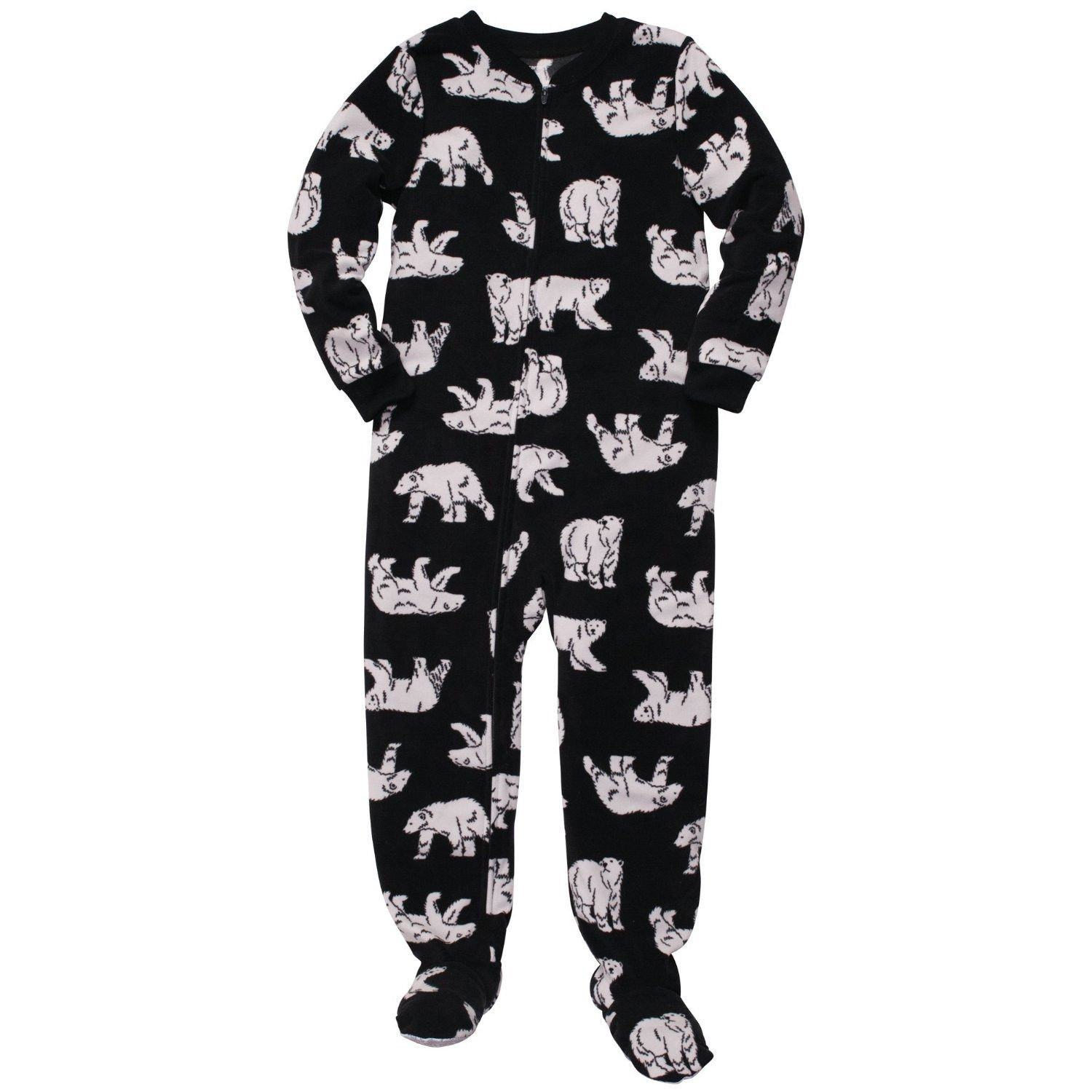 ddbc3c6ddf9f Amazon.com  CARTER S Boy s Black Polar Bear Winter Fleece Footed ...
