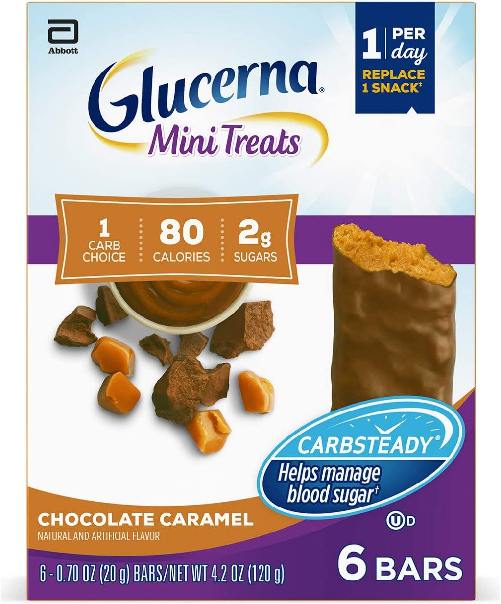 Amazon Com Glucerna Mini Treats 24 Count For People With Diabetes To Help Manage Blood Sugar With Carbsteady And Essential Vitamins Minerals 80 Calories Chocolate Caramel 0 70 Oz Health Personal Care