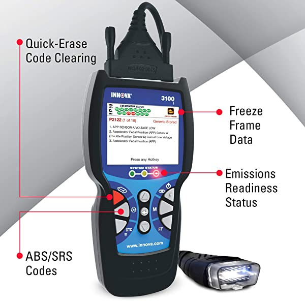 3100j diagnoses the check engine light as well as reading and erasing ABS and SRS trouble codes