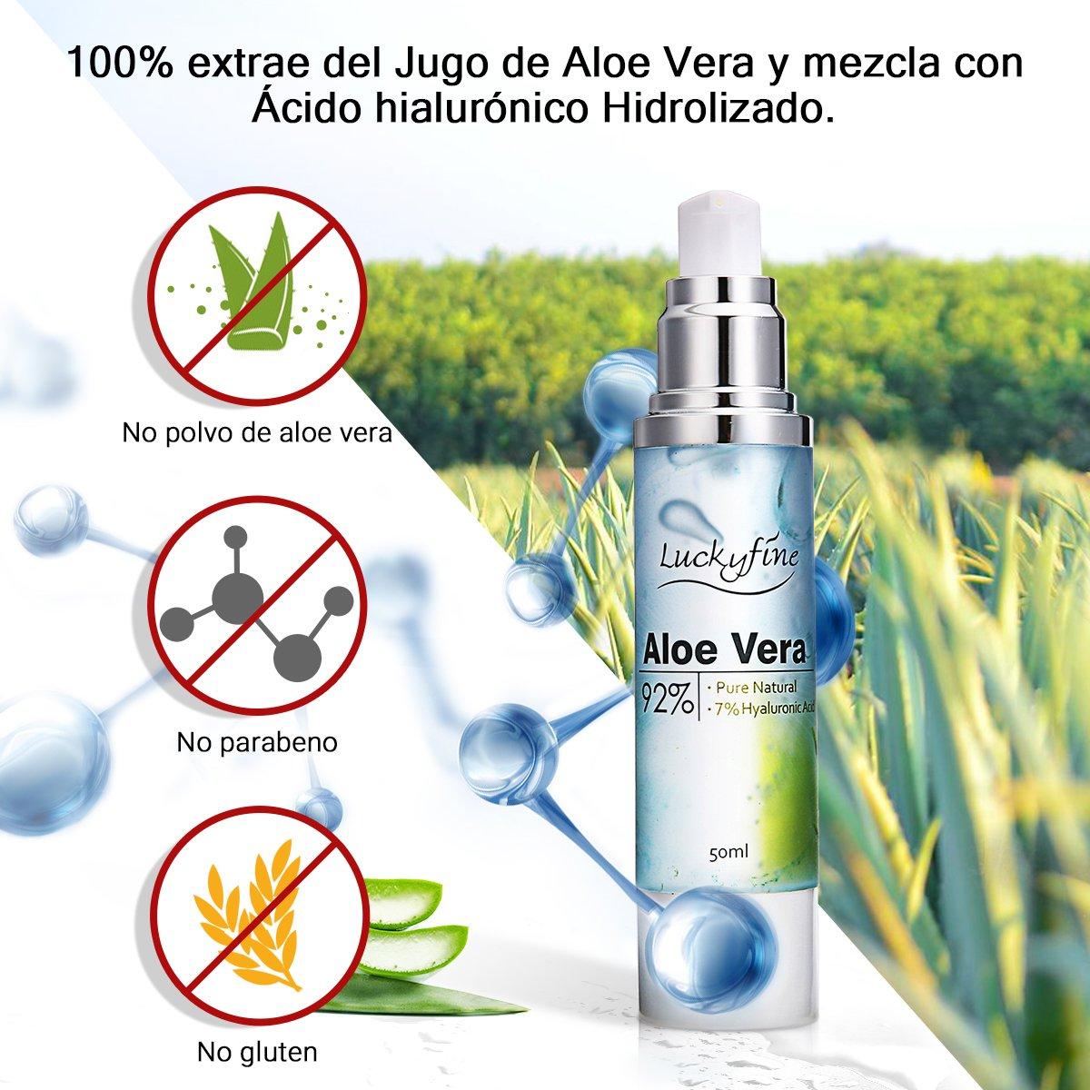 Luckyfine Esencia Facial de Aloe Vera 92% Natural Gel Hidratante Cuidado Después de Sol Aloe Vera Orgánico con 7% Ácido Hialurónico 50 ml: Amazon.es: ...