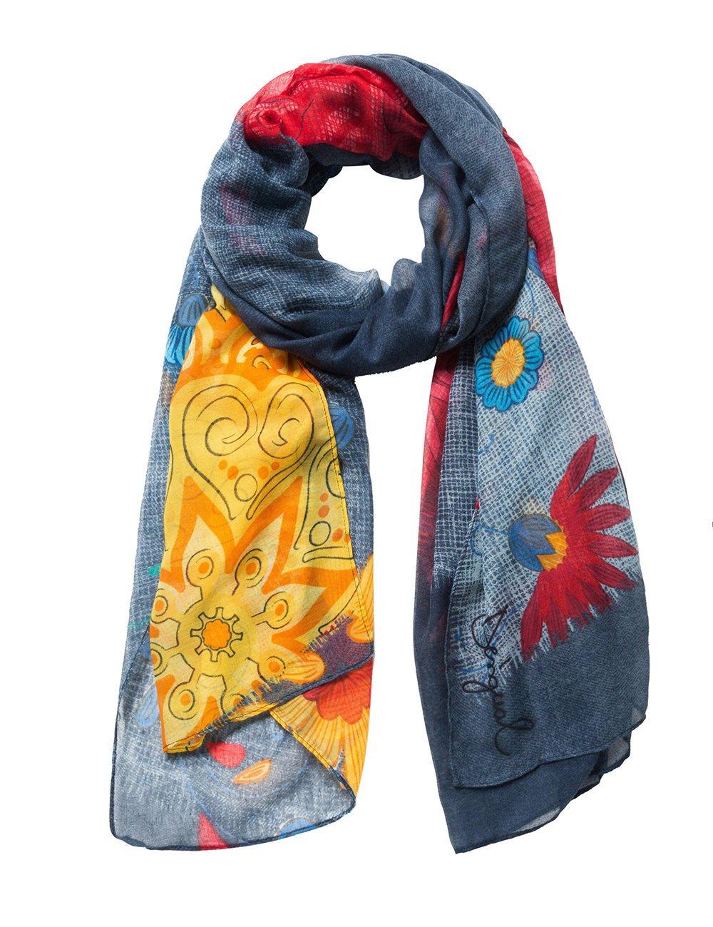 bfade97deb4 Desigual foulards 18waww37 gloria rectangle bleu product image