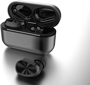 True Wireless Earbuds Deep Bass HD Call Quality, Bluetooth 5.0 IPX7 Waterproof TWS Bluetooth Earbuds, 20H Playtime Built-in Mic In-Ear Earphones Fit iPhone/Android Metal Frosted Charging Case