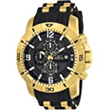 Invicta Men's 'Pro Diver' Quartz Gold-Tone and Stainless Steel Casual Watch, Color:Black (Model: 24965)