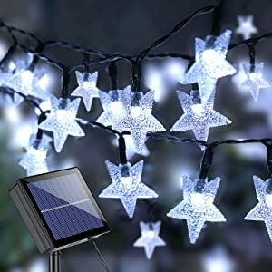 Brizled Star Solar String Lights, 39ft 100 LED Solar Lights Outdoor, 8 Modes Waterproof Solar Fairy Light Star Twinkle Light with Memory for Balcony Party Patio Garden Yard & Home Decor, Cool White