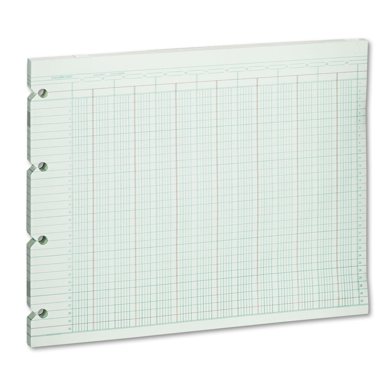 Wilson Jones G1024 Accounting Sheets, 24 Column, 9-1/4 x 11-7/8, 100 Loose Sheets/Pack, Green