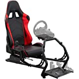 """VIVO Racing Simulator Cockpit with Wheel Stand and Gear Mount """"Chair and Frame Only"""", Fits Logitech, Thrustmaster, Fanatec, C"""