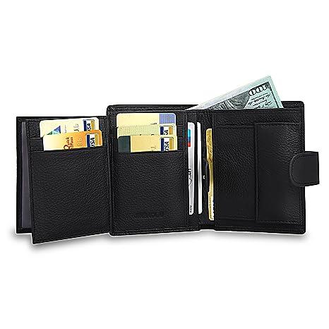 90cbbba8f3f MPTECK   Negro Billeteras hombre pequeñas Cuero Genuino Piel Genuina  Cartera billetera piel billetera tarjetero Carteras