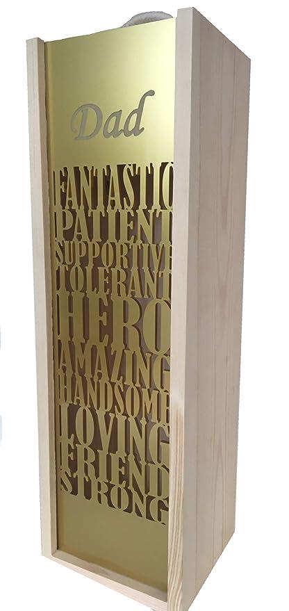 """Caja de regalo de madera grabada personalizada para papá con texto en inglés """"Happy"""